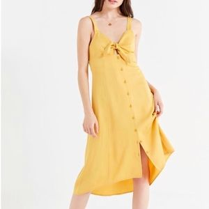 Urban Outfitters Yellow Tie Midi Dress